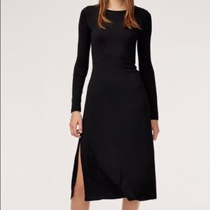 Black dress from Aritzia with slit